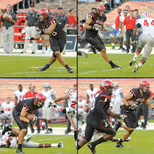 San Diego State tight end Gavin Escobar makes a catch and jukes a defender (Ernie Anderson/SDSU Media Relations)