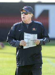 New offensive coordinator Bob Toledo during his first spring football with San Diego State. (Ernie Anderson/SDSU Media Relations)