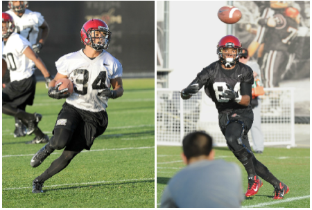 Players like J.J. Whittaker (left) and Paul Pitts (right), are back from injury and will see increased reps with the absence of others at their position. (Ernie Anderson/SDSU Media Relations)