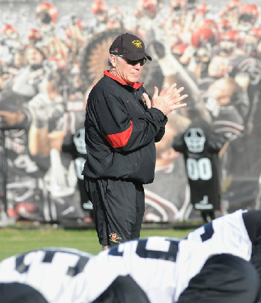 Head coach Rocky Long and the Aztecs have finished two weeks of spring practices. (Ernie Anderson/SDSU Media Relations)